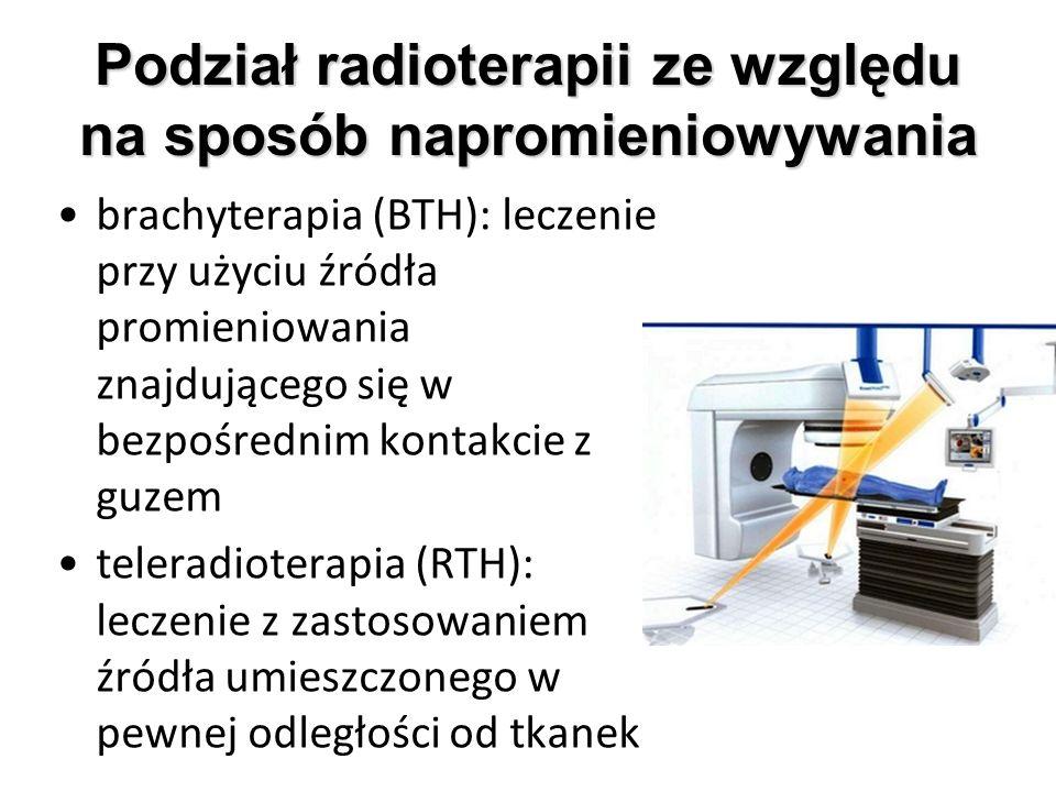 Podział radioterapii ze względu na sposób napromieniowywania brachyterapia (BTH): leczenie przy użyciu źródła promieniowania znajdującego się w bezpoś