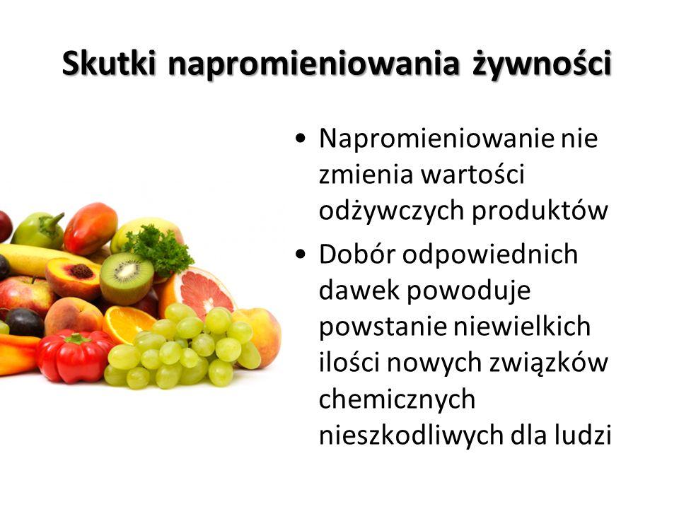 Wykorzystanie promieniowania jonizującego Małe dawki - przedłużanie trwałości produktów spożywczych, zwiększenie trwałości płodów rolnych Średnie dawki – hamowanie rozwoju drobnoustrojów