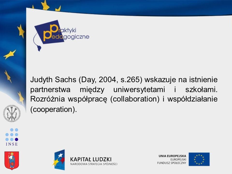Judyth Sachs (Day, 2004, s.265) wskazuje na istnienie partnerstwa między uniwersytetami i szkołami. Rozróżnia współpracę (collaboration) i współdziała