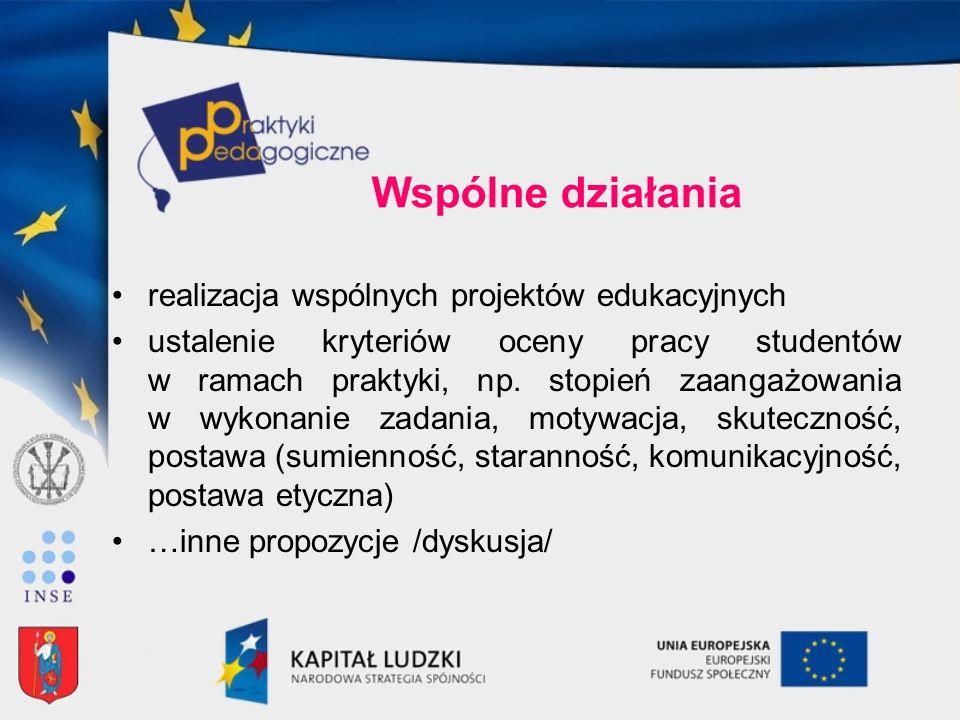 Wspólne działania realizacja wspólnych projektów edukacyjnych ustalenie kryteriów oceny pracy studentów w ramach praktyki, np. stopień zaangażowania w