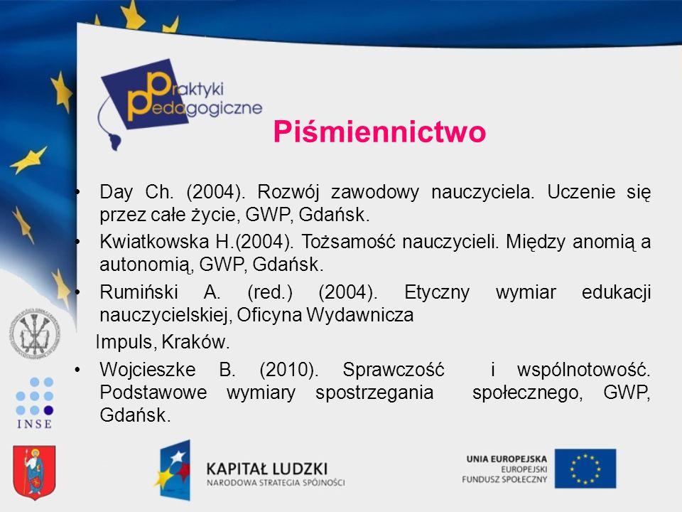 Piśmiennictwo Day Ch. (2004). Rozwój zawodowy nauczyciela. Uczenie się przez całe życie, GWP, Gdańsk. Kwiatkowska H.(2004). Tożsamość nauczycieli. Mię