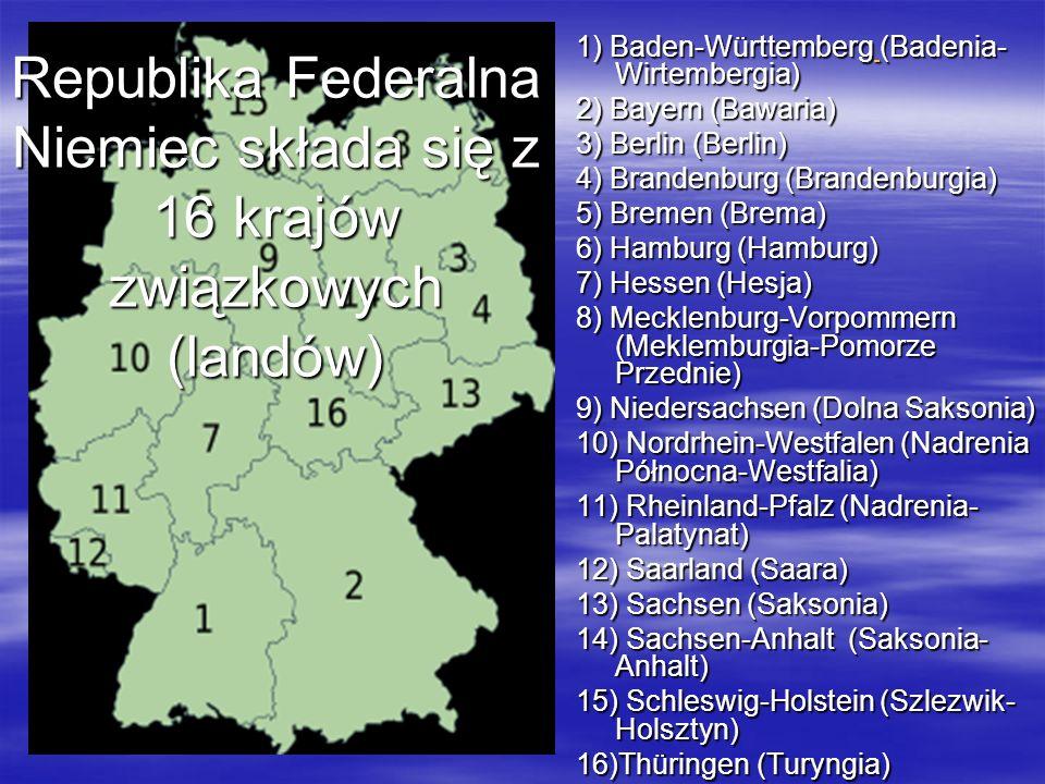 Republika Federalna Niemiec składa się z 16 krajów związkowych (landów) 1) Baden-Württemberg (Badenia- Wirtembergia) 2) Bayern (Bawaria) 3) Berlin (Be