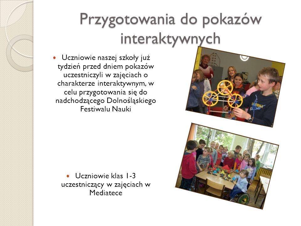 Przygotowania do pokazów interaktywnych Uczniowie naszej szkoły już tydzień przed dniem pokazów uczestniczyli w zajęciach o charakterze interaktywnym,