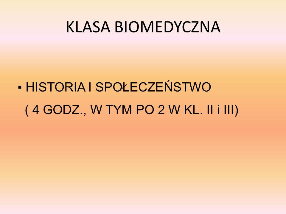 KLASA BIOMEDYCZNA HISTORIA I SPOŁECZEŃSTWO ( 4 GODZ., W TYM PO 2 W KL. II i III)