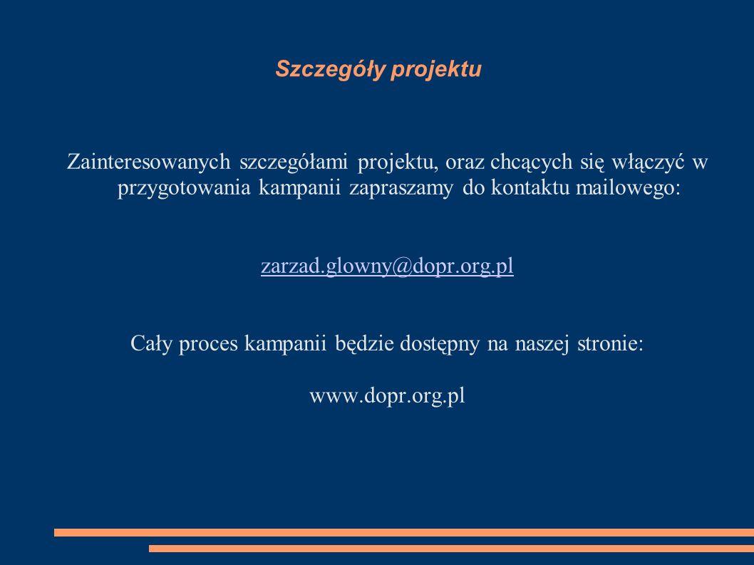 Szczegóły projektu Zainteresowanych szczegółami projektu, oraz chcących się włączyć w przygotowania kampanii zapraszamy do kontaktu mailowego: zarzad.