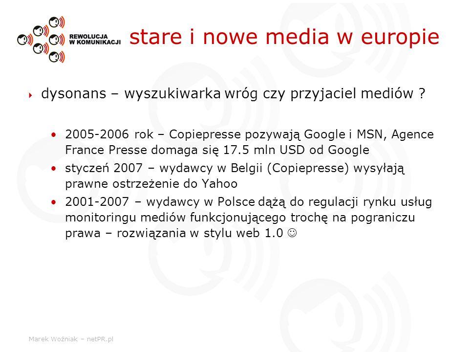 Marek Woźniak – netPR.pl stare i nowe media w europie dysonans – wyszukiwarka wróg czy przyjaciel mediów ? 2005-2006 rok – Copiepresse pozywają Google