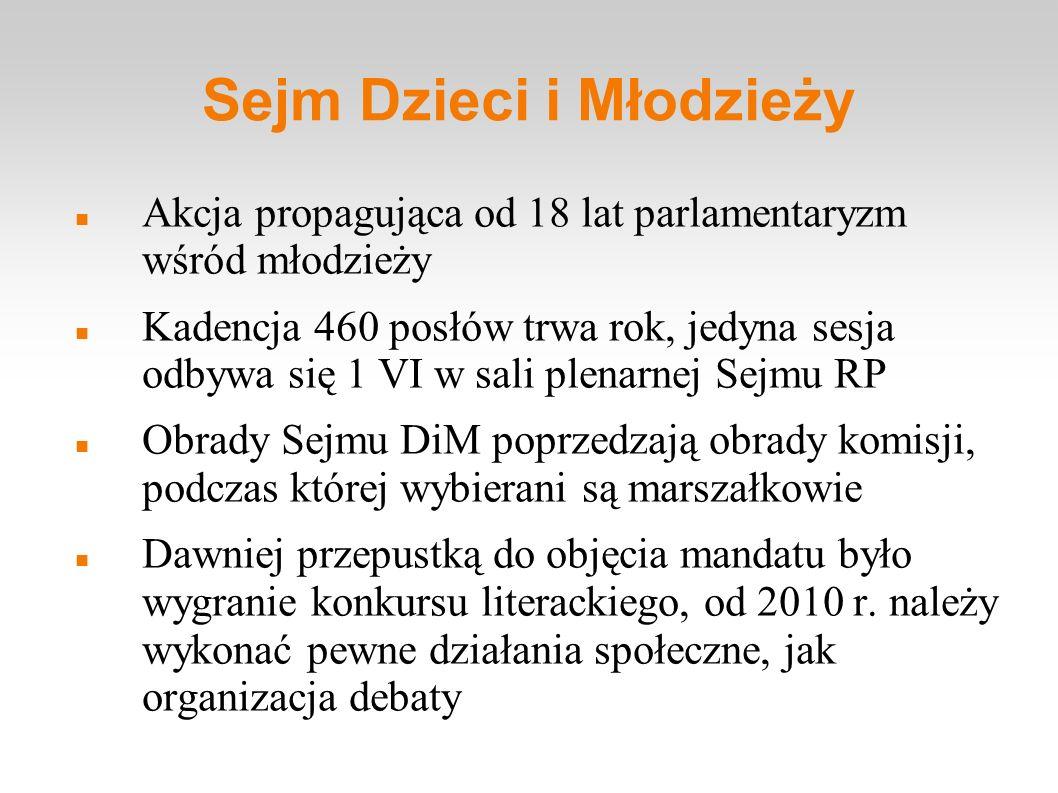Sejm Dzieci i Młodzieży Akcja propagująca od 18 lat parlamentaryzm wśród młodzieży Kadencja 460 posłów trwa rok, jedyna sesja odbywa się 1 VI w sali p