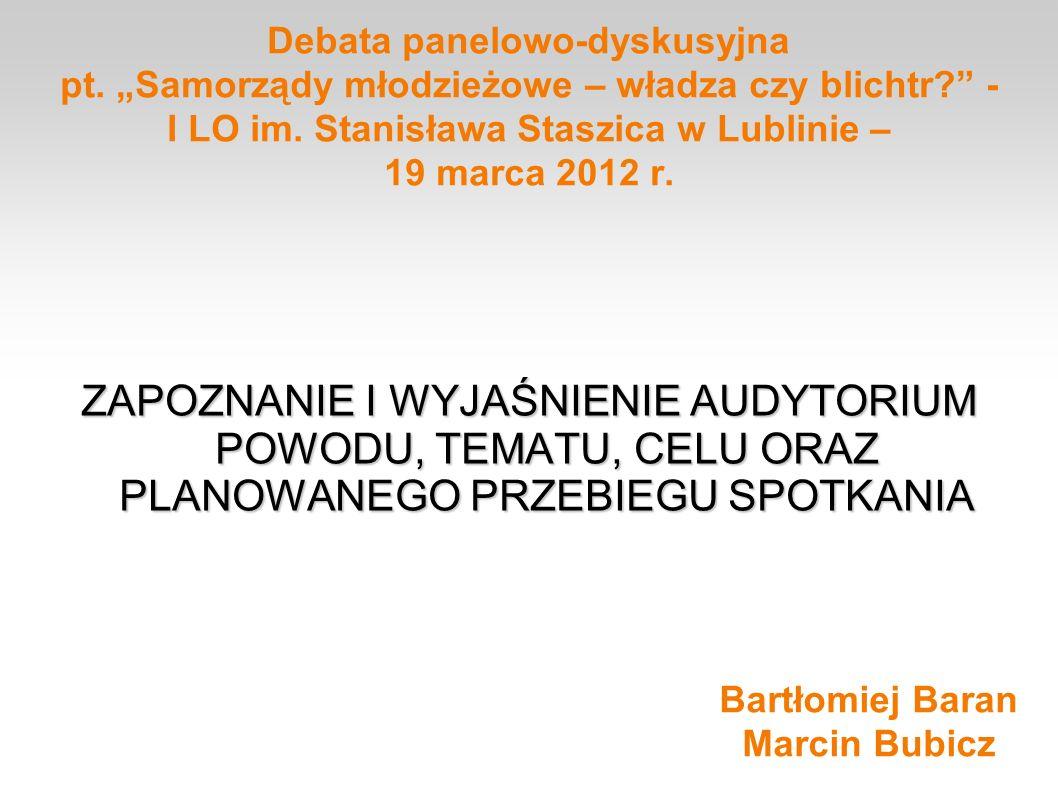 Debata panelowo-dyskusyjna pt. Samorządy młodzieżowe – władza czy blichtr? - I LO im. Stanisława Staszica w Lublinie – 19 marca 2012 r. ZAPOZNANIE I W