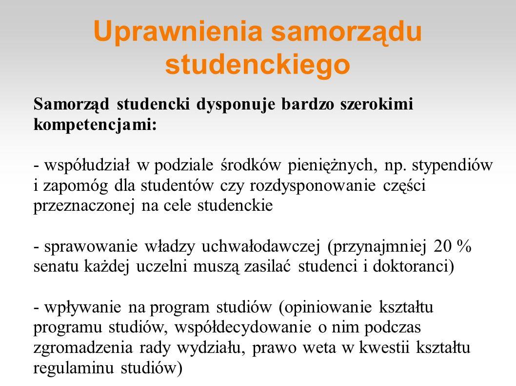 Uprawnienia samorządu studenckiego Samorząd studencki dysponuje bardzo szerokimi kompetencjami: - współudział w podziale środków pieniężnych, np. styp