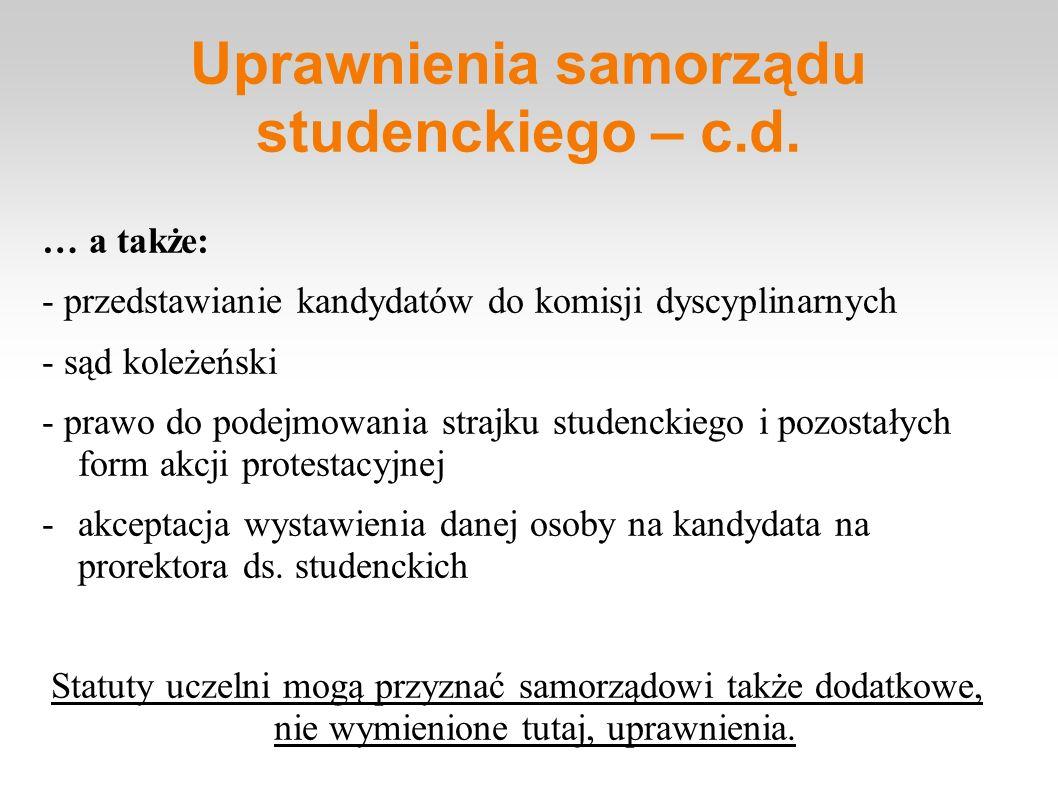 Uprawnienia samorządu studenckiego – c.d. … a także: - przedstawianie kandydatów do komisji dyscyplinarnych - sąd koleżeński - prawo do podejmowania s