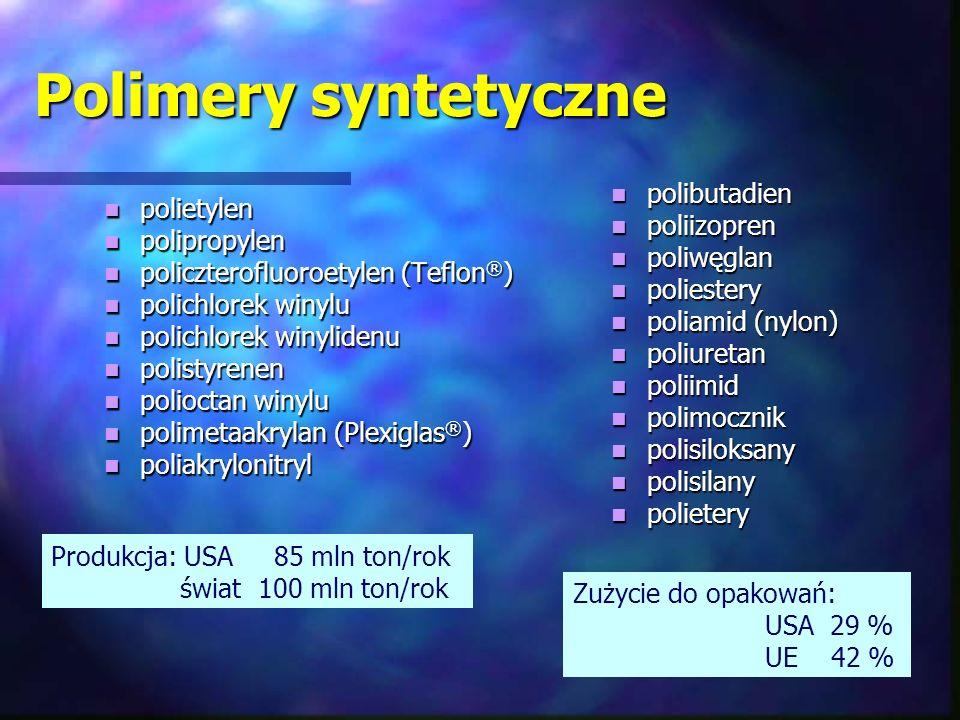 Polimery syntetyczne polietylen polietylen polipropylen polipropylen policzterofluoroetylen (Teflon ® ) policzterofluoroetylen (Teflon ® ) polichlorek
