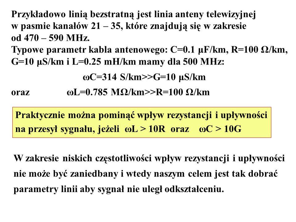 Przykładowo linią bezstratną jest linia anteny telewizyjnej w pasmie kanałów 21 – 35, które znajdują się w zakresie od 470 – 590 MHz. Typowe parametr