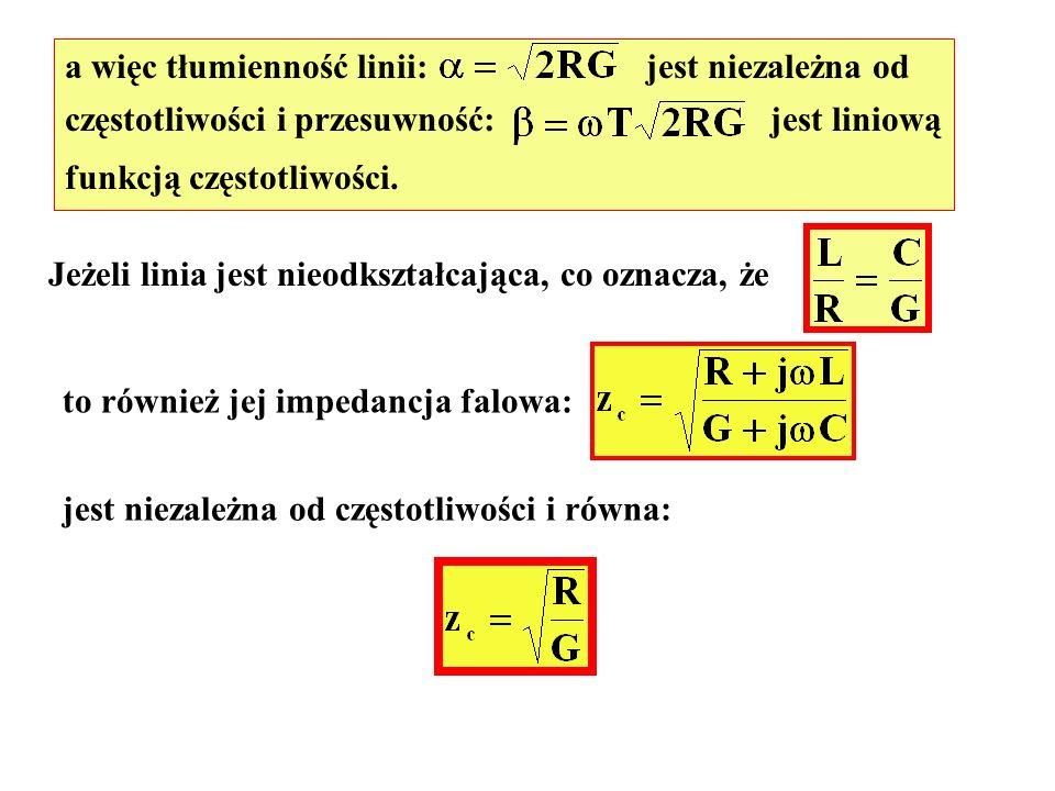 a więc tłumienność linii: jest niezależna od częstotliwości i przesuwność: jest liniową funkcją częstotliwości. Jeżeli linia jest nieodkształcająca, c