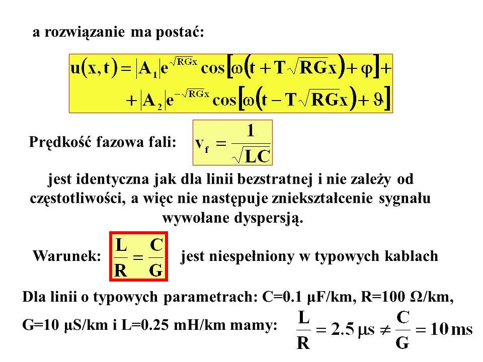 a rozwiązanie ma postać: Prędkość fazowa fali: jest identyczna jak dla linii bezstratnej i nie zależy od częstotliwości, a więc nie następuje zniekszt