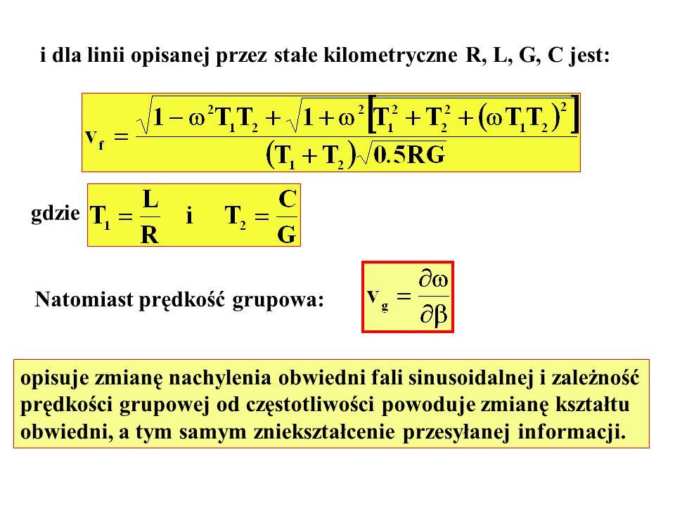 i dla linii opisanej przez stałe kilometryczne R, L, G, C jest: gdzie Natomiast prędkość grupowa: opisuje zmianę nachylenia obwiedni fali sinusoidalne