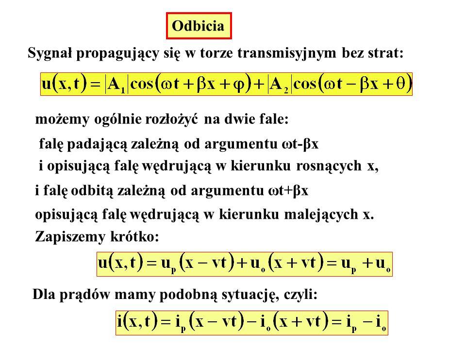 Odbicia Sygnał propagujący się w torze transmisyjnym bez strat: możemy ogólnie rozłożyć na dwie fale: falę padającą zależną od argumentu ωt-βx i opisu