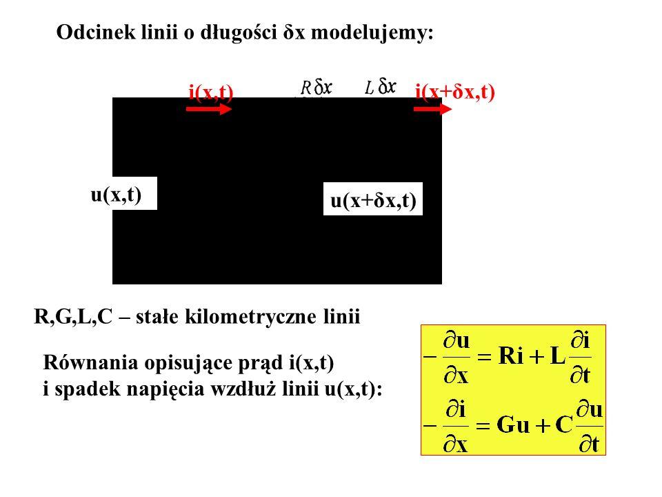 Typowe wartości stałych kilometrycznych to: R100Ω/km, G10μS/km, L0.25mH/km, C0.1μF/km Przyjmiemy sygnał sinusoidalnie zmienny o pulsacji ω i zastosujemy metodę amplitud zespolonych czyli i(x,t)=Re[I(x)e jωt ], u(x,t)=Re[U(x)ejωt] gdzie I(x), U(x) - amplitudy zespolone odpowiednio prądu i napięcia.