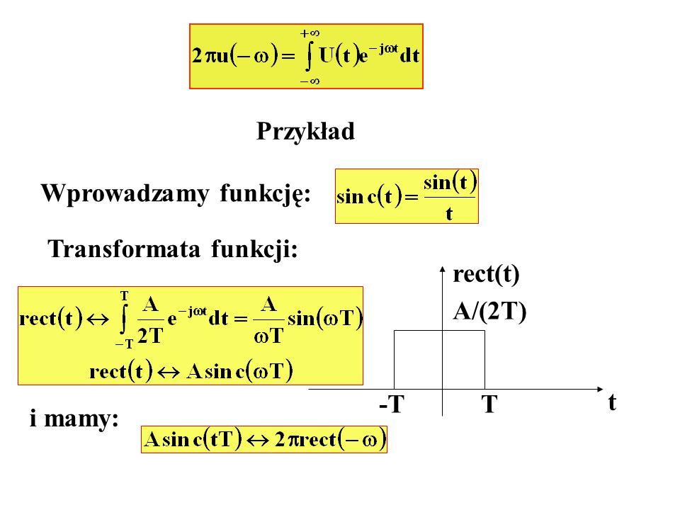 Przykład Wprowadzamy funkcję: Transformata funkcji: t rect(t) -TT A/(2T) i mamy: