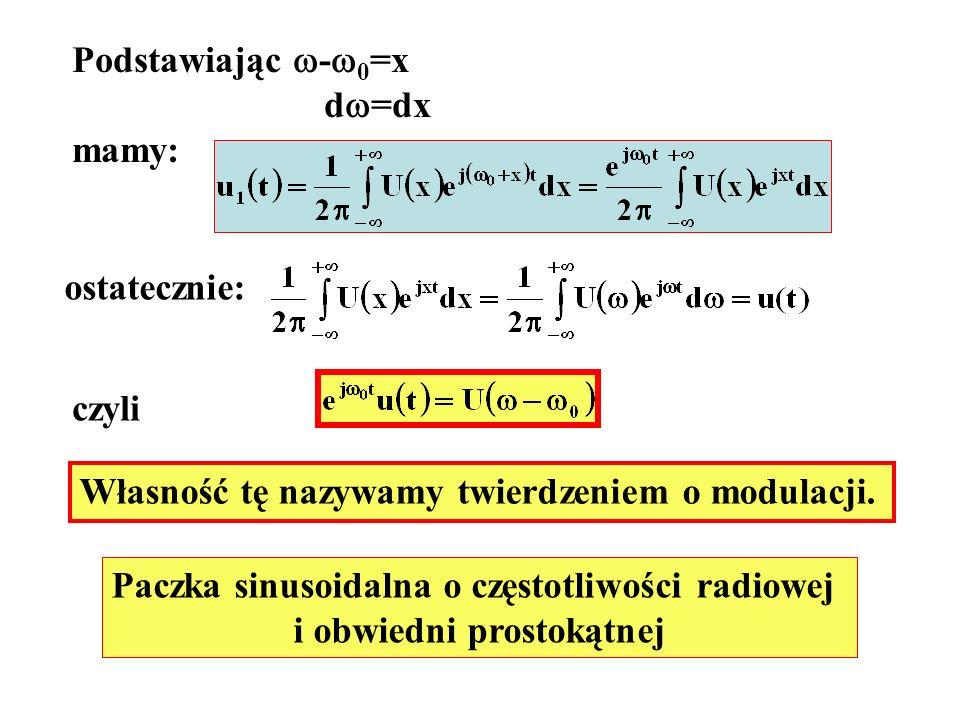 Podstawiając - 0 =x d =dx mamy: ostatecznie: czyli Własność tę nazywamy twierdzeniem o modulacji. Paczka sinusoidalna o częstotliwości radiowej i obwi