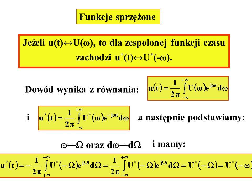 Funkcje sprzężone Jeżeli u(t)U( ), to dla zespolonej funkcji czasu zachodzi u * (t)U * (- ). Dowód wynika z równania: ia następnie podstawiamy: =- ora