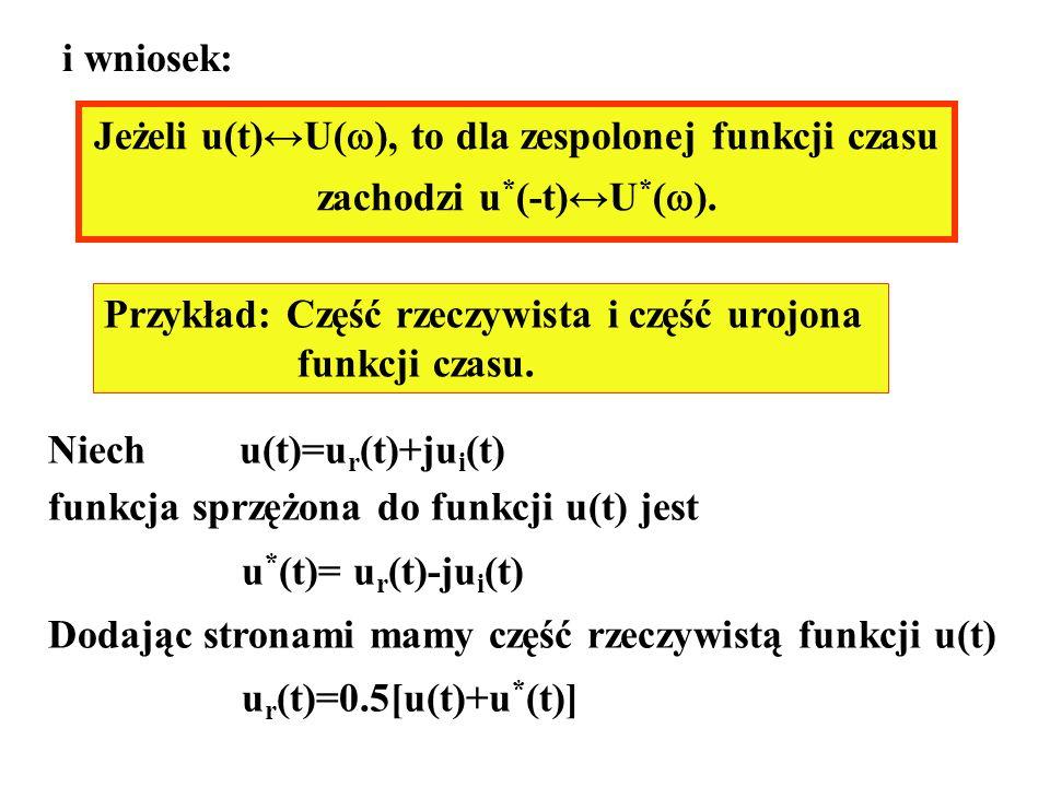 Jeżeli u(t)U( ), to dla zespolonej funkcji czasu zachodzi u * (-t)U * ( ). i wniosek: Przykład: Część rzeczywista i część urojona funkcji czasu. Niech