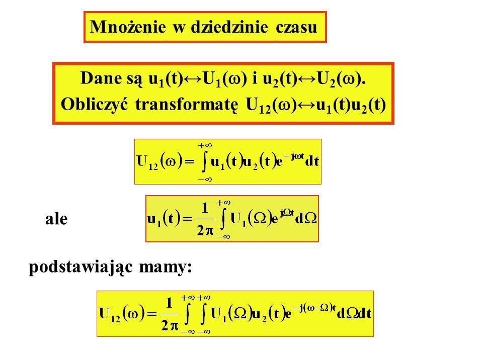 Mnożenie w dziedzinie czasu Dane są u 1 (t)U 1 ( ) i u 2 (t)U 2 ( ). Obliczyć transformatę U 12 ( )u 1 (t)u 2 (t) ale podstawiając mamy: