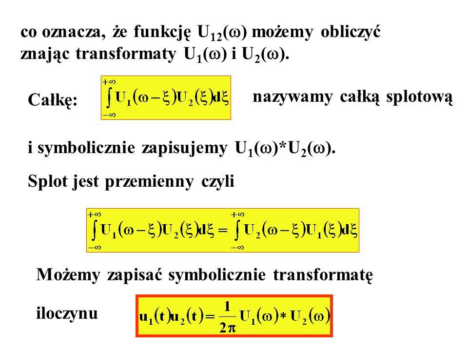 co oznacza, że funkcję U 12 ( ) możemy obliczyć znając transformaty U 1 ( ) i U 2 ( ). Całkę: nazywamy całką splotową i symbolicznie zapisujemy U 1 (