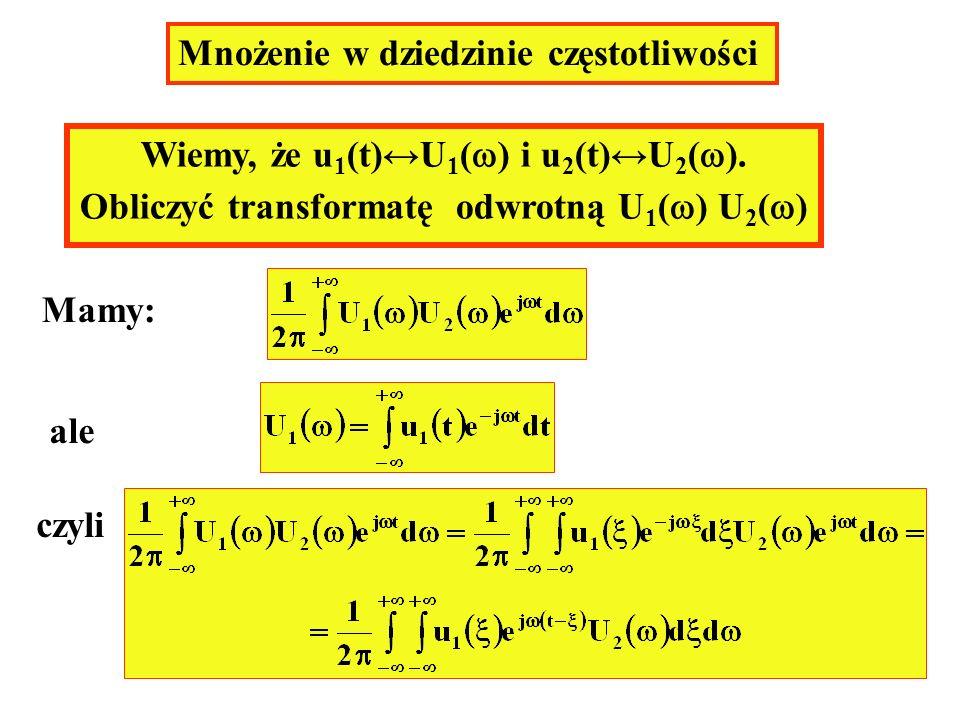 Mnożenie w dziedzinie częstotliwości Wiemy, że u 1 (t)U 1 ( ) i u 2 (t)U 2 ( ). Obliczyć transformatę odwrotną U 1 ( ) U 2 ( ) Mamy: ale czyli