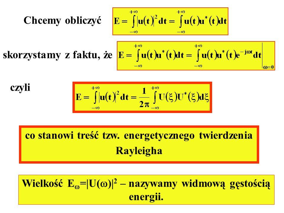 Chcemy obliczyć skorzystamy z faktu, że czyli co stanowi treść tzw. energetycznego twierdzenia Rayleigha Wielkość E =|U( )| 2 – nazywamy widmową gęsto