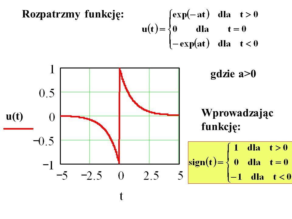możemy zapisać: u(t)=exp(-a t )sign(t), a rozkładając na dwie funkcje: