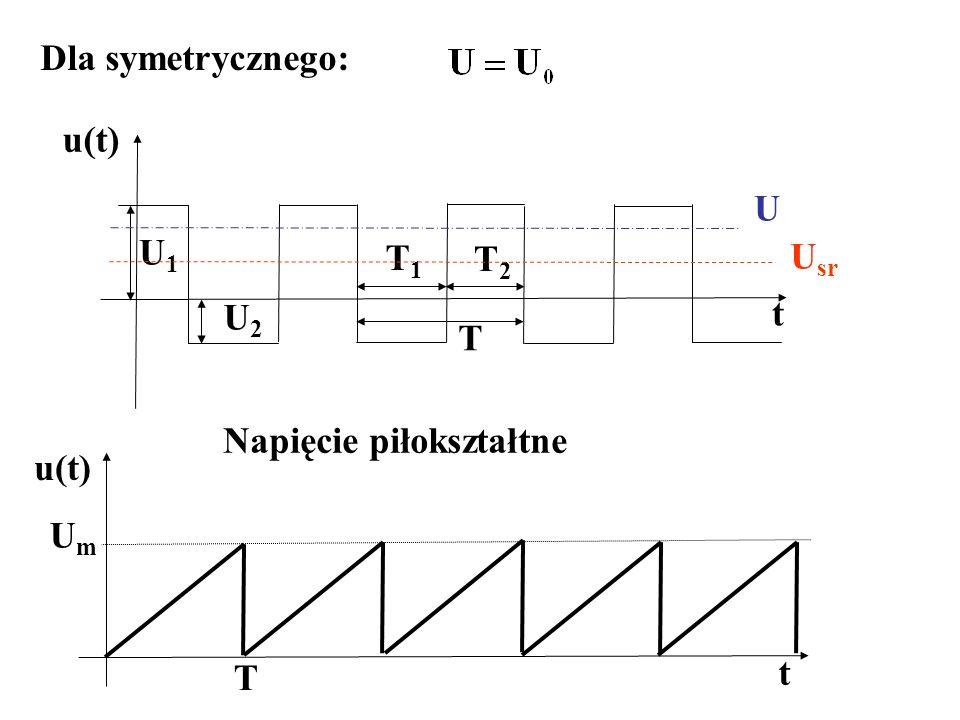 Dla symetrycznego: t U1U1 U2U2 T1T1 T2T2 T u(t) U sr U Napięcie piłokształtne t u(t) UmUm T