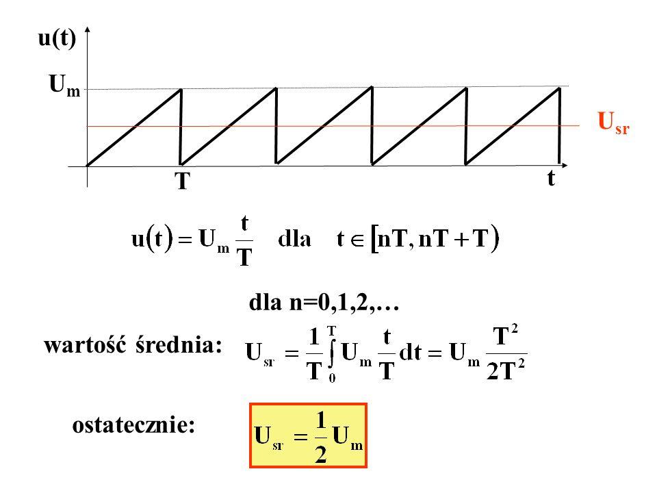 t UmUm T dla n=0,1,2,… wartość średnia: ostatecznie: U sr