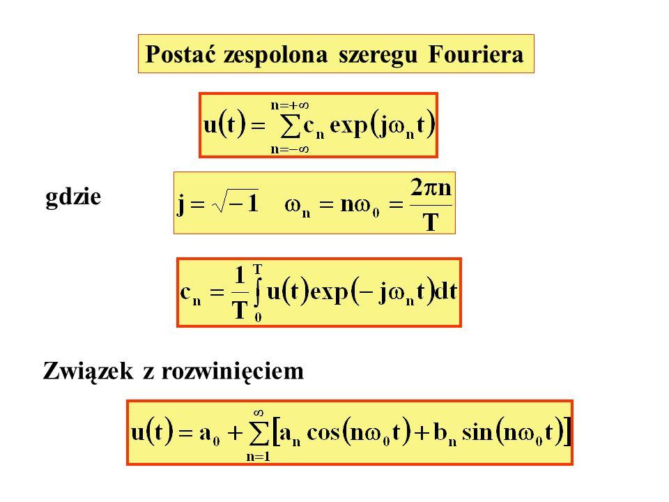 Postać zespolona szeregu Fouriera gdzie Związek z rozwinięciem