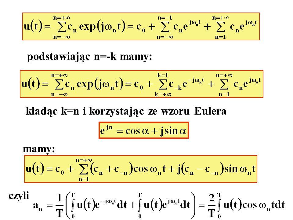 podstawiając n=-k mamy: kładąc k=n i korzystając ze wzoru Eulera mamy: czyli