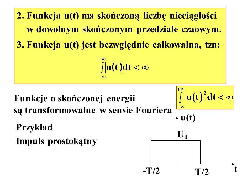 Przykład Impuls prostokątny t u(t) U0U0 -T/2 T/2 2. Funkcja u(t) ma skończoną liczbę nieciągłości w dowolnym skończonym przedziale czaowym. 3. Funkcja