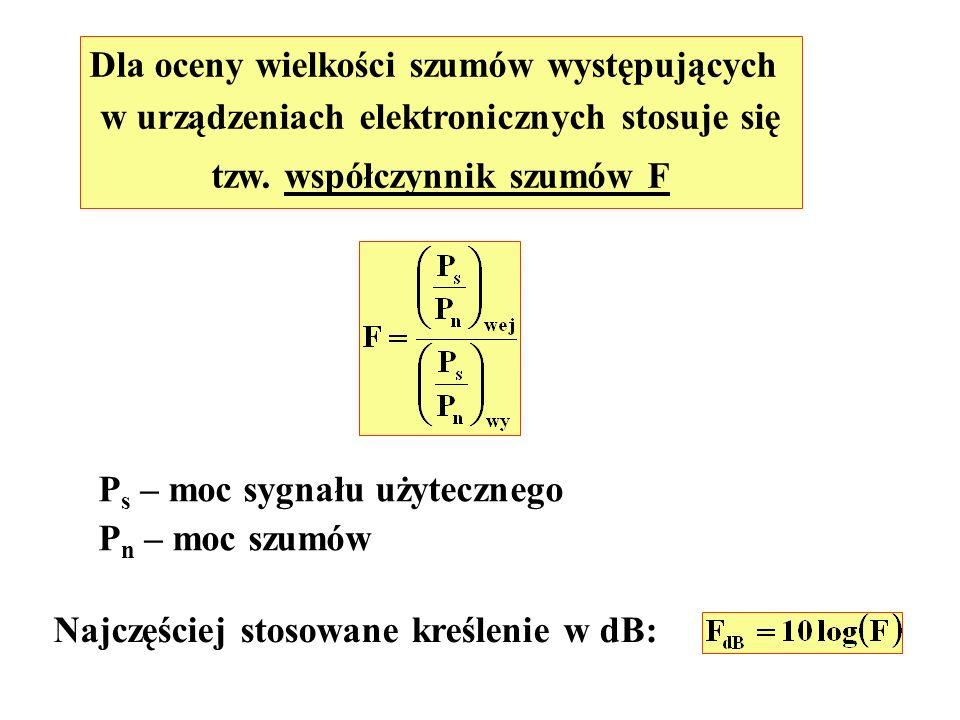 Dla oceny wielkości szumów występujących w urządzeniach elektronicznych stosuje się tzw. współczynnik szumów F P s – moc sygnału użytecznego P n – moc