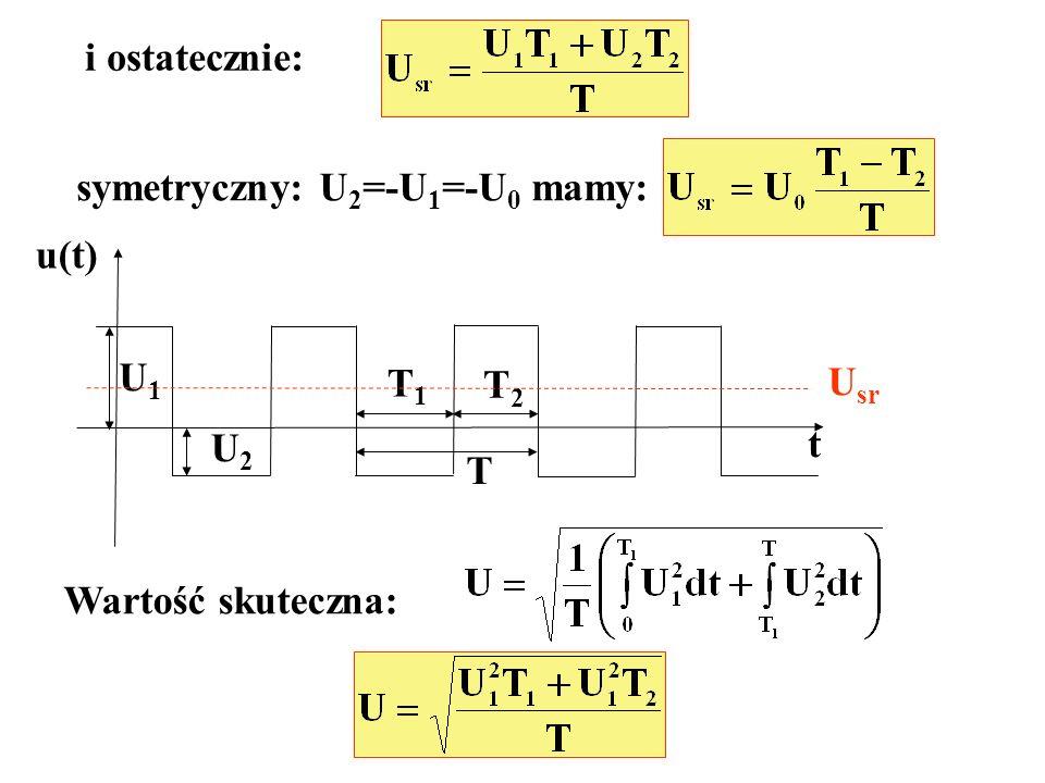 i ostatecznie: symetryczny: U 2 =-U 1 =-U 0 mamy: t U1U1 U2U2 T1T1 T2T2 T u(t) U sr Wartość skuteczna: