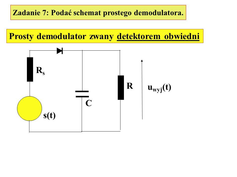 Zadanie 7: Podać schemat prostego demodulatora. Prosty demodulator zwany detektorem obwiedni s(t) RsRs C R u wyj (t)