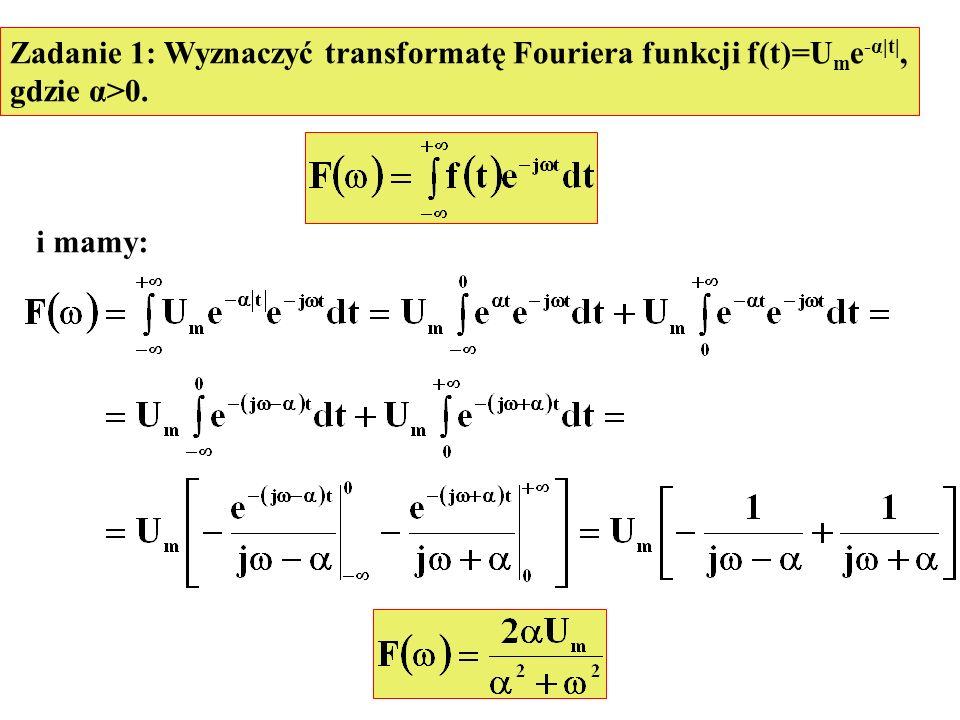 Zadanie 1: Wyznaczyć transformatę Fouriera funkcji f(t)=U m e -α|t|, gdzie α>0. i mamy: