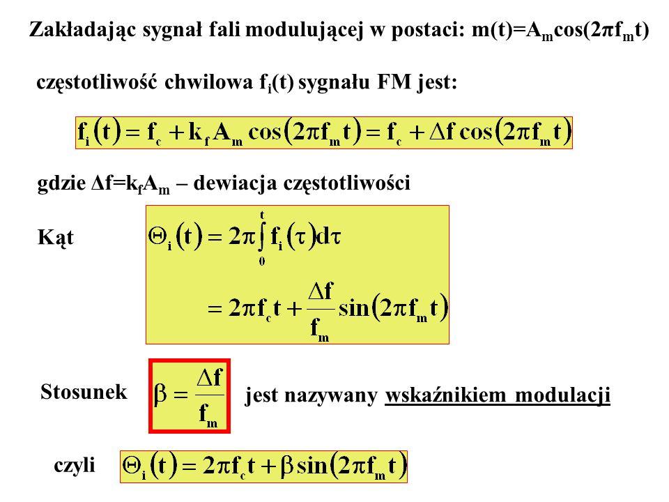 Zakładając sygnał fali modulującej w postaci: m(t)=A m cos(2πf m t) częstotliwość chwilowa f i (t) sygnału FM jest: gdzie Δf=k f A m – dewiacja często
