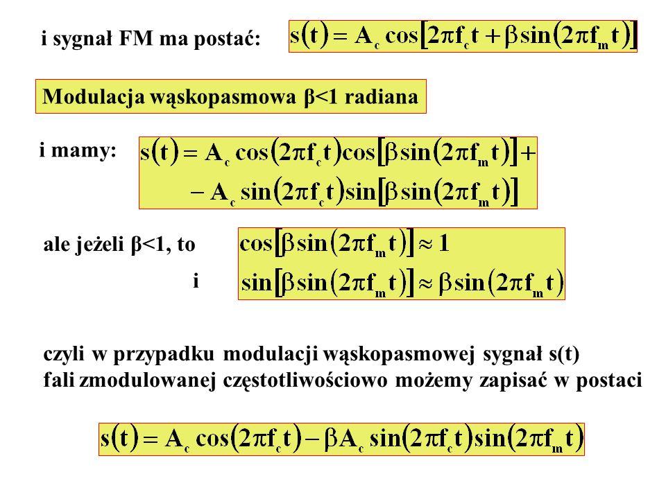 i sygnał FM ma postać: Modulacja wąskopasmowa β<1 radiana i mamy: ale jeżeli β<1, to i czyli w przypadku modulacji wąskopasmowej sygnał s(t) fali zmod