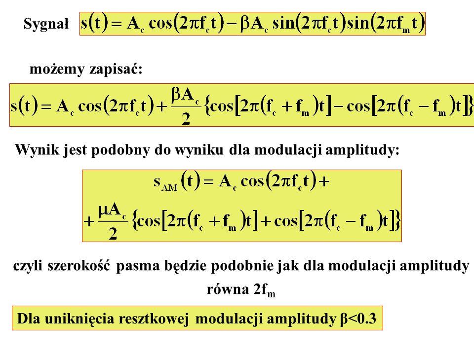 Sygnał możemy zapisać: Wynik jest podobny do wyniku dla modulacji amplitudy: czyli szerokość pasma będzie podobnie jak dla modulacji amplitudy równa 2