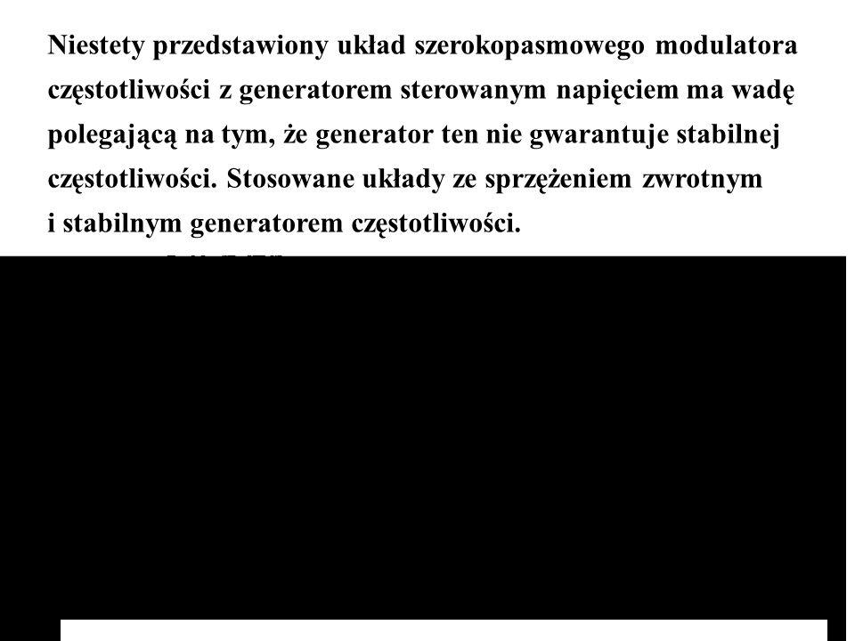 Niestety przedstawiony układ szerokopasmowego modulatora częstotliwości z generatorem sterowanym napięciem ma wadę polegającą na tym, że generator ten