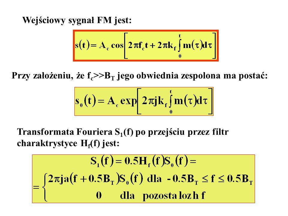 Wejściowy sygnał FM jest: Przy założeniu, że f c >>B T jego obwiednia zespolona ma postać: Transformata Fouriera S 1 (f) po przejściu przez filtr char