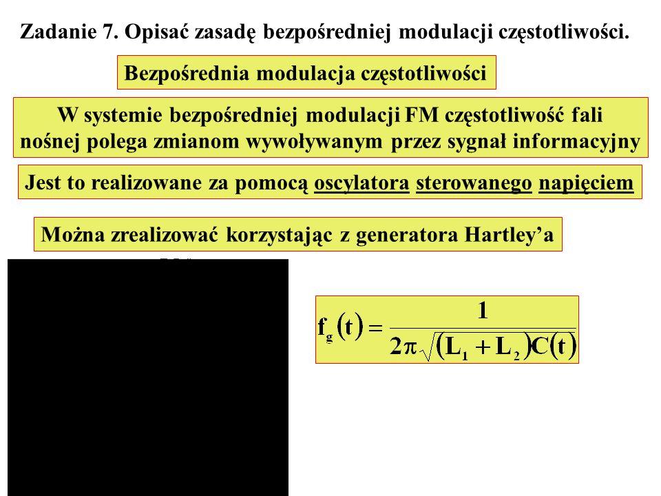 Zadanie 7. Opisać zasadę bezpośredniej modulacji częstotliwości. Bezpośrednia modulacja częstotliwości W systemie bezpośredniej modulacji FM częstotli