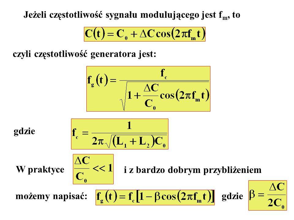 Jeżeli częstotliwość sygnału modulującego jest f m, to czyli częstotliwość generatora jest: gdzie W praktyce i z bardzo dobrym przybliżeniem możemy na