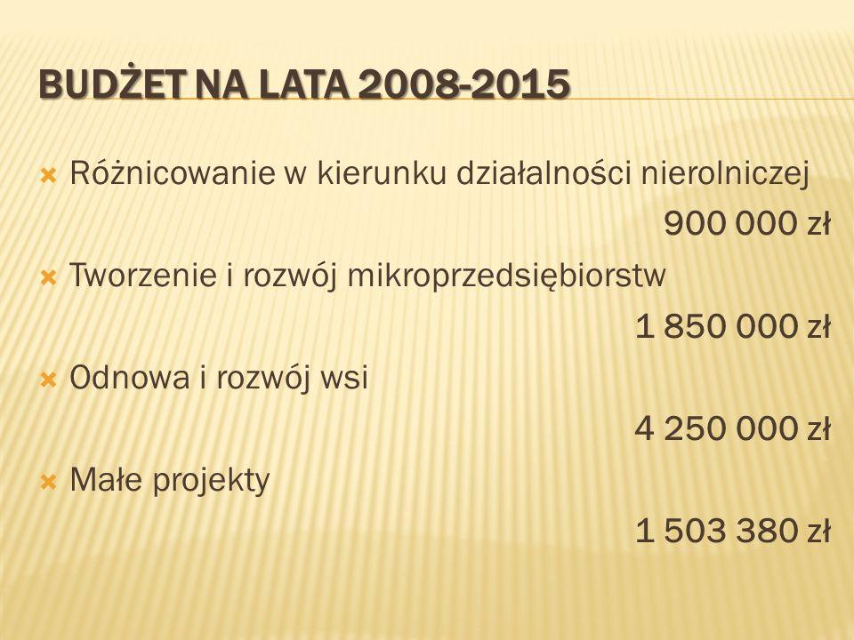 BUDŻET NA LATA 2008-2015 Różnicowanie w kierunku działalności nierolniczej 900 000 zł Tworzenie i rozwój mikroprzedsiębiorstw 1 850 000 zł Odnowa i ro