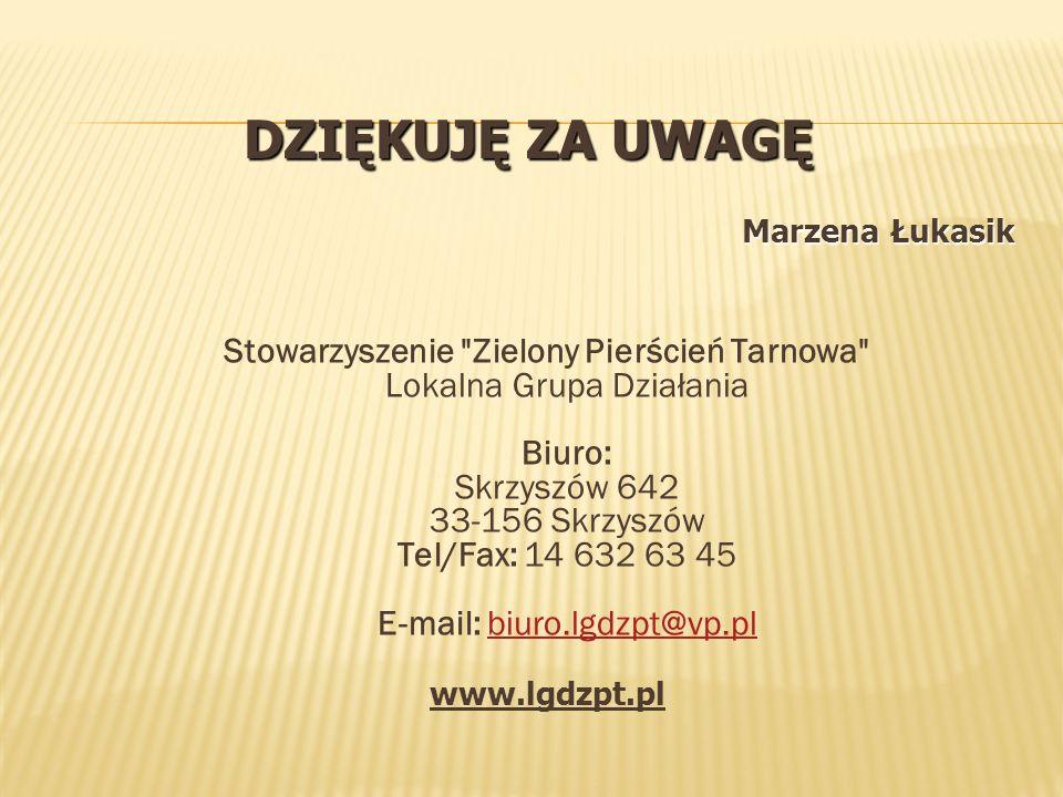 DZIĘKUJĘ ZA UWAGĘ Marzena Łukasik Stowarzyszenie