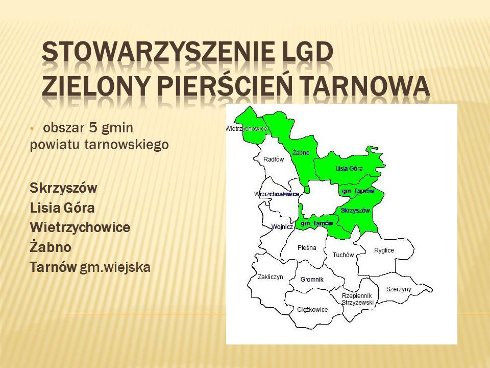 obszar 5 gmin powiatu tarnowskiego Skrzyszów Lisia Góra Wietrzychowice Żabno Tarnów gm.wiejska