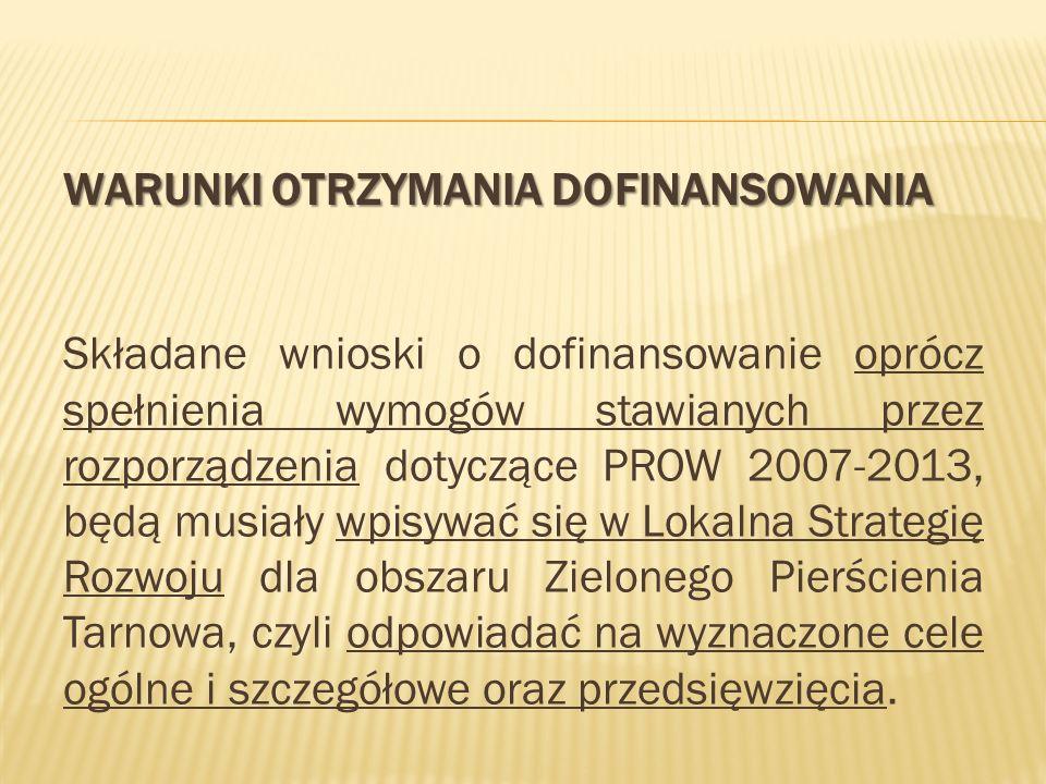 WARUNKI OTRZYMANIA DOFINANSOWANIA Składane wnioski o dofinansowanie oprócz spełnienia wymogów stawianych przez rozporządzenia dotyczące PROW 2007-2013